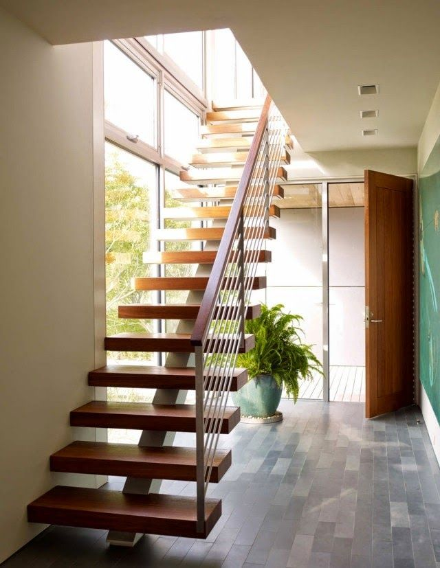 Staircase Railing Design Ideas Wooden Stair With Central Stringer