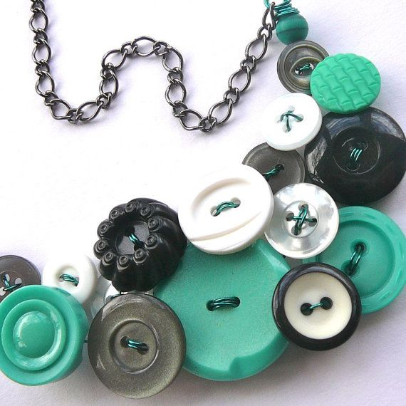 Fun Funky Vintage Button Statement Necklace by buttonsoupjewelry, $35.00