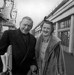 American-born British poet and playwright T.S. Eliot at Southampton with his second wife Valerie on March 21, 1961.