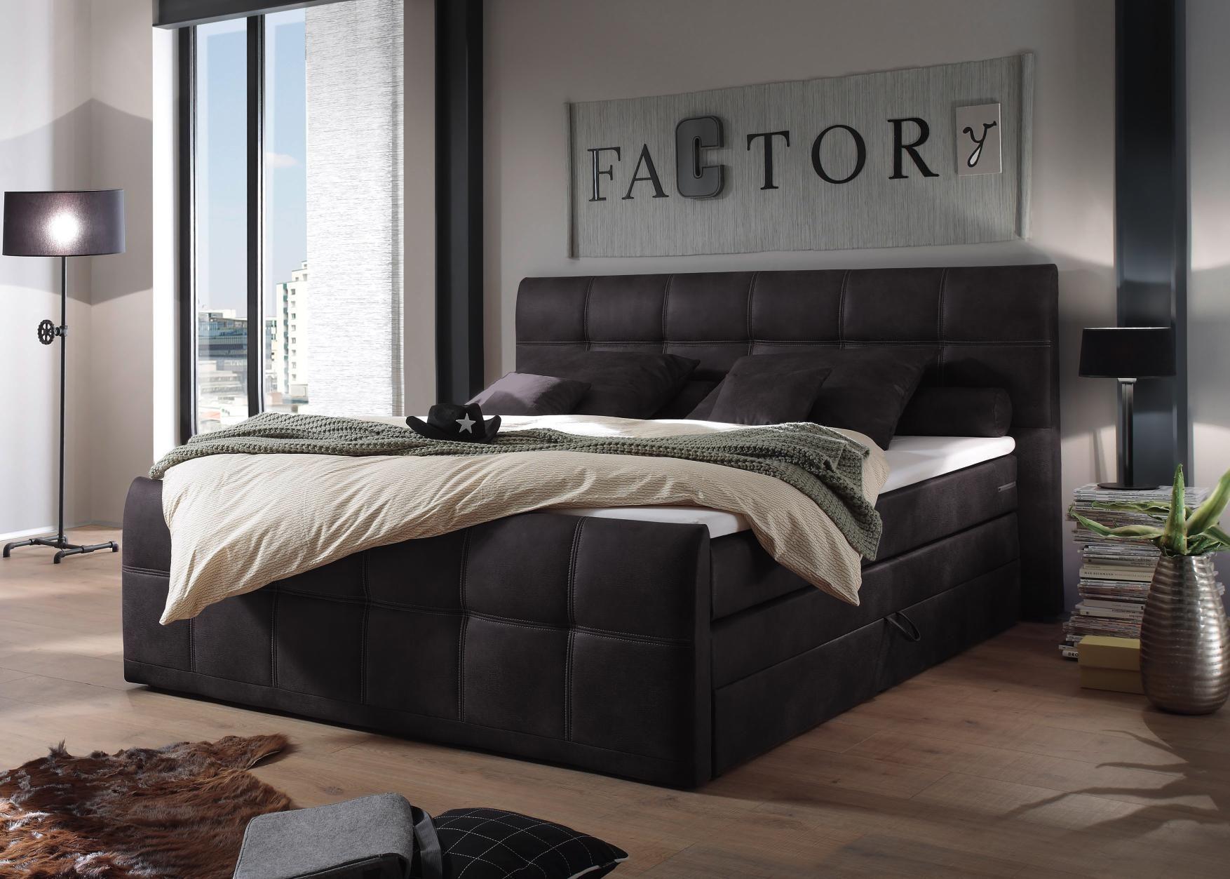 Lovely Schlafzimmer Mit Boxspringbett Braun #11: BOXSPRINGBETT 180 Cm X 200 Cm In Textil Anthrazit
