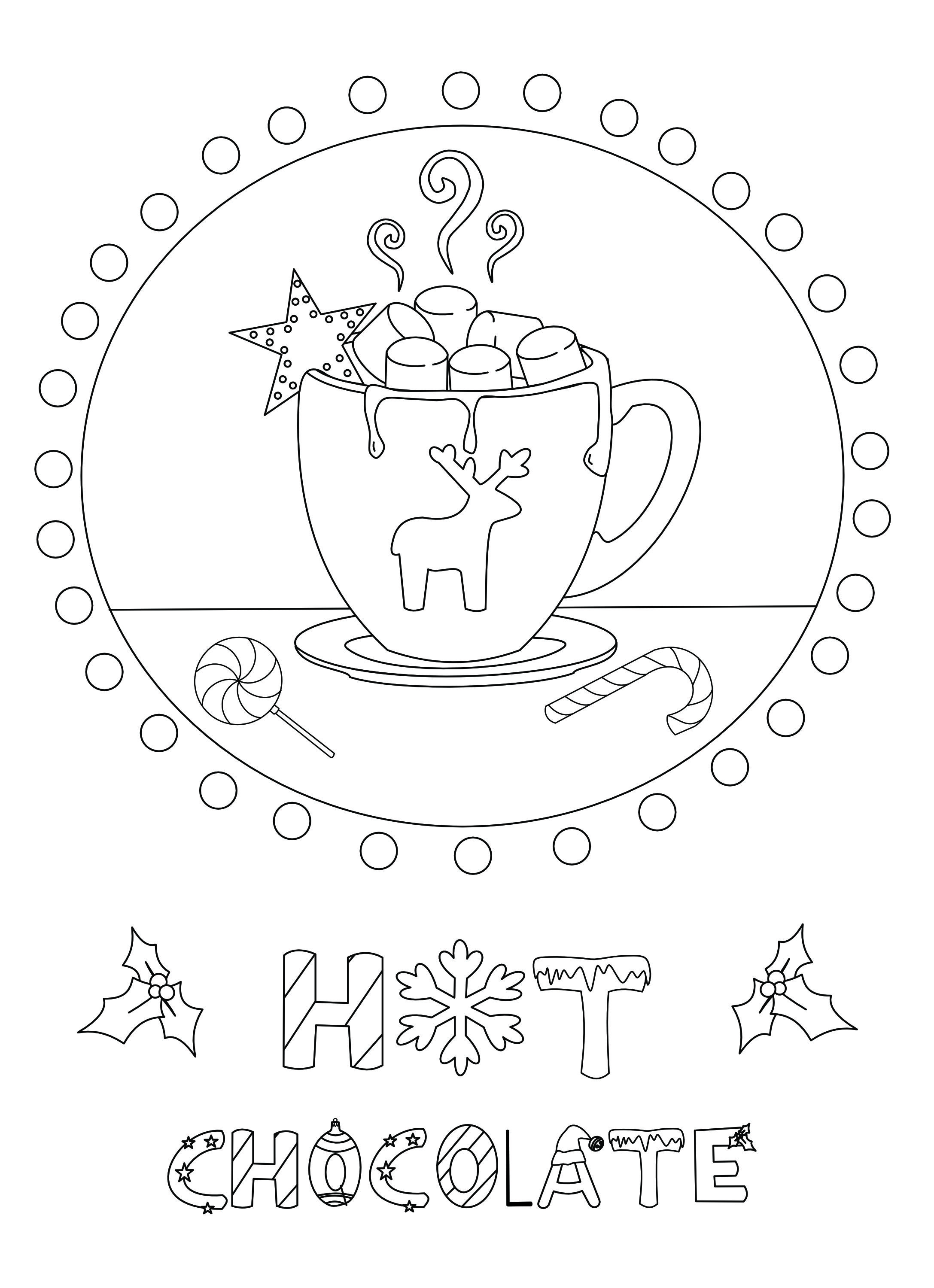 Free printable Hot Chocolate coloring page from the Ornaments of