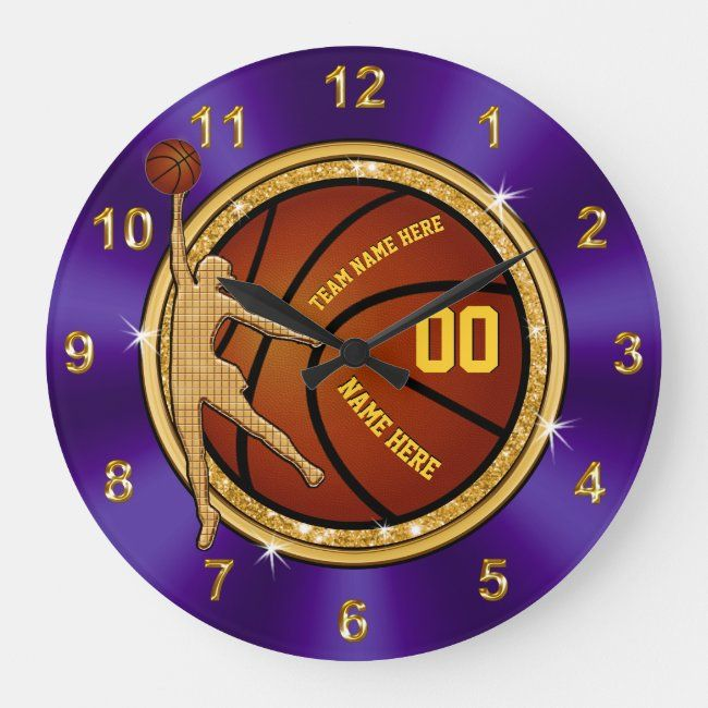 Purple and Gold Basketball Clock for Girls Team #girls #basketball #team #basketball #girls #kids #childrens #personalized #clocks #gifts #giftideas #kidsclock #childrensclock #clockforkids #kidsroomdecor #kidswallclock #childrenswallclock