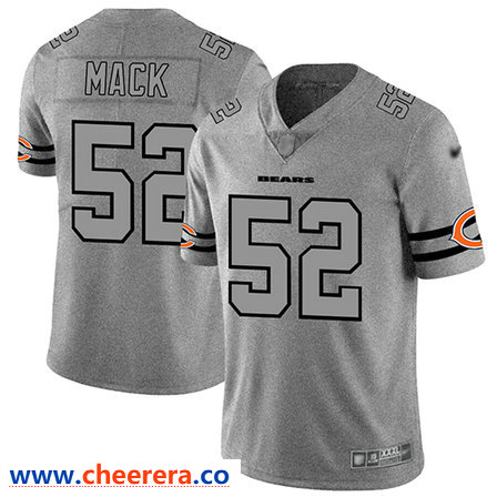 Chicago Bears 52 Khalil Mack Gray Men S Stitched Football Limited Team Logo Gridiron Jersey Jersey Pittsburgh Steelers Jerseys Indianapolis Colts