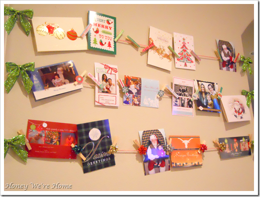 DIY: Hanging Christmas Card Display With Clothespins U0026 Twine!