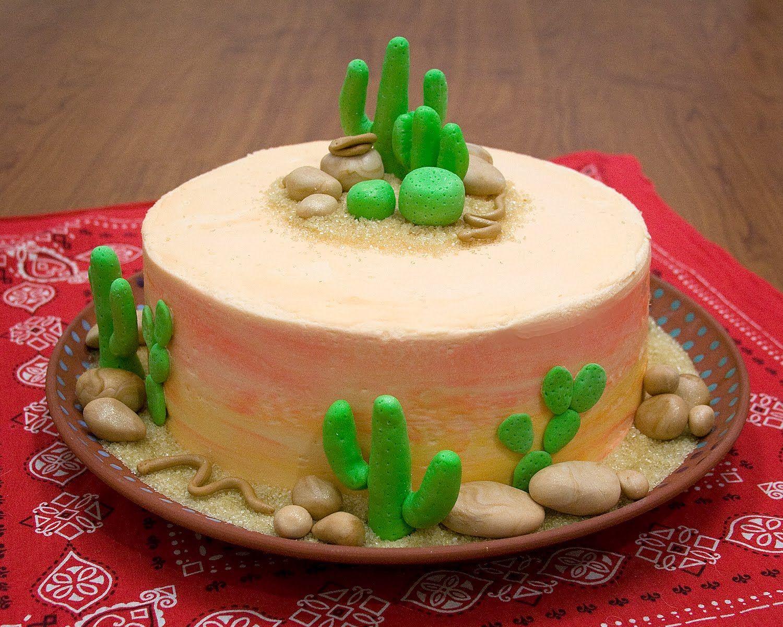 Cowboy In A Desert Theme Cake