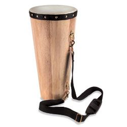 Child-Size Conga Drum $50 Ages 3 and up for children to create their own rhythms or play along with a recording. Leather head stretched over a tapering, hardwood body.
