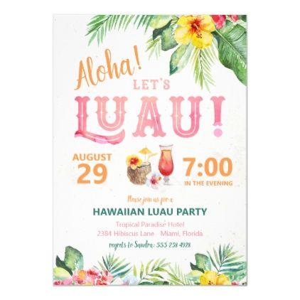 Aloha Hawaiian Luau Party Invitation | Zazzle.com