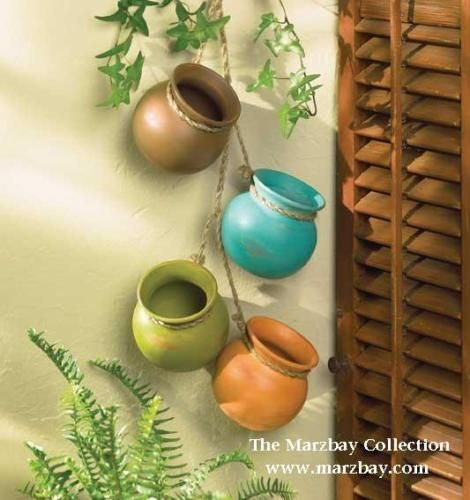 2 southwest hanging plant pots art pottery wall decor | Ceramic pots ...