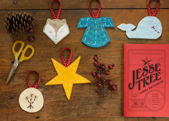 Jesse Tree Advent Ornaments by RedfearnFelt on Etsy