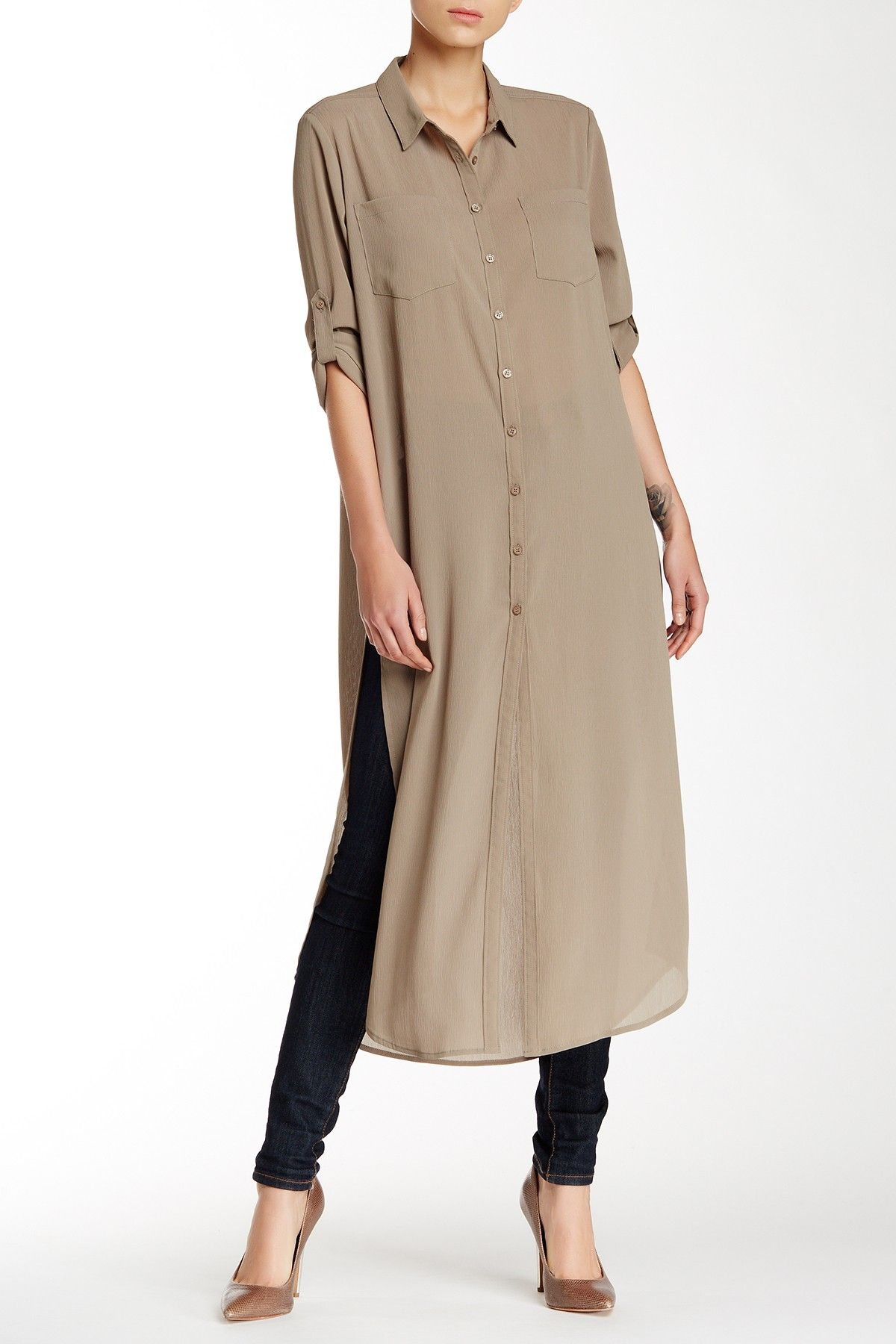 6216756c644 Cecico | Long Sleeve Split Side Maxi Tunic | Things to Wear ...
