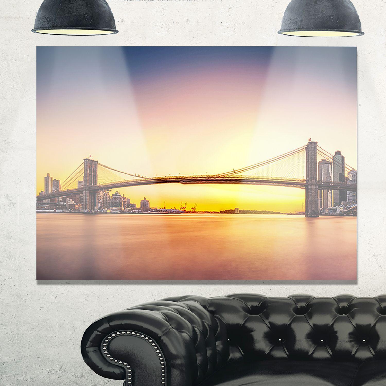 Brooklyn Bridge Panorama Sky - Cityscape Glossy Metal Wall Art ...