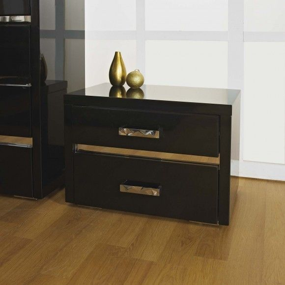 Best Alessia Bedside Table In High Gloss Black A Stunning 400 x 300
