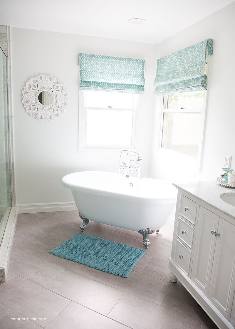 Bathroom Makeover Via I Heart Naptime Grey And White Remodel With Carrara Marble Herringbone Tile Vintage Pedestal Tub Blue