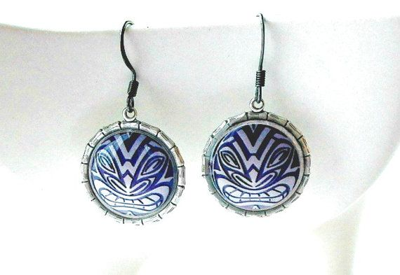 Tiki Earrings Tribal Mask with Bamboo Frames  Burning by FireGrog, $16.00
