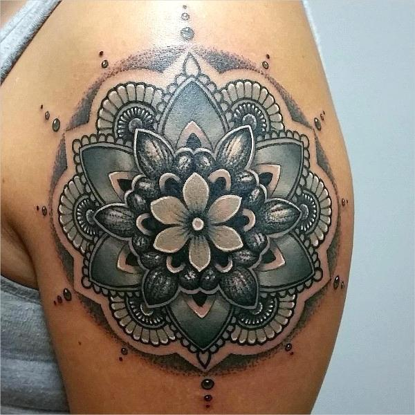 shoulder medallion flower tattoo stencil Google Search