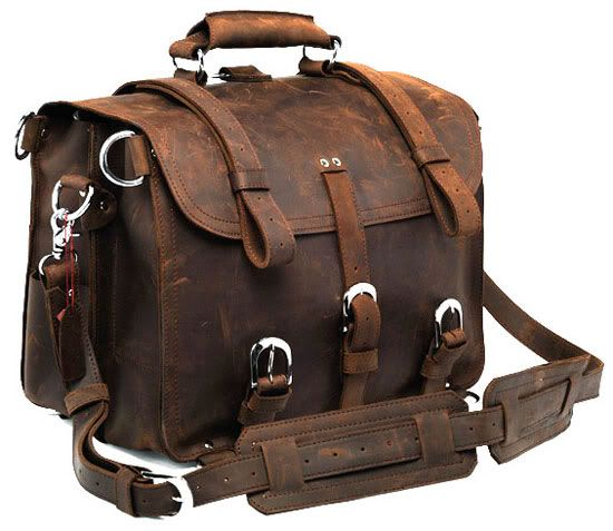 Crazy Horse Leather Men's Briefcase Backpack Travel Bag Huge 16.5 ...