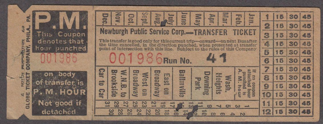 Transfer from Newburgh (New York) Public Service Corp