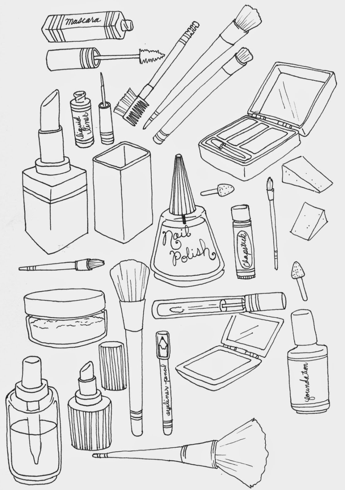 makeup coloring page Illustration Pinterest Makeup Doodles
