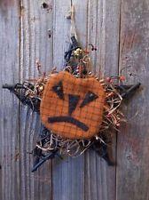 Pair of Primitive Handmade Halloween Peg Hangers - Jack-O-Lanterns on Twig Stars