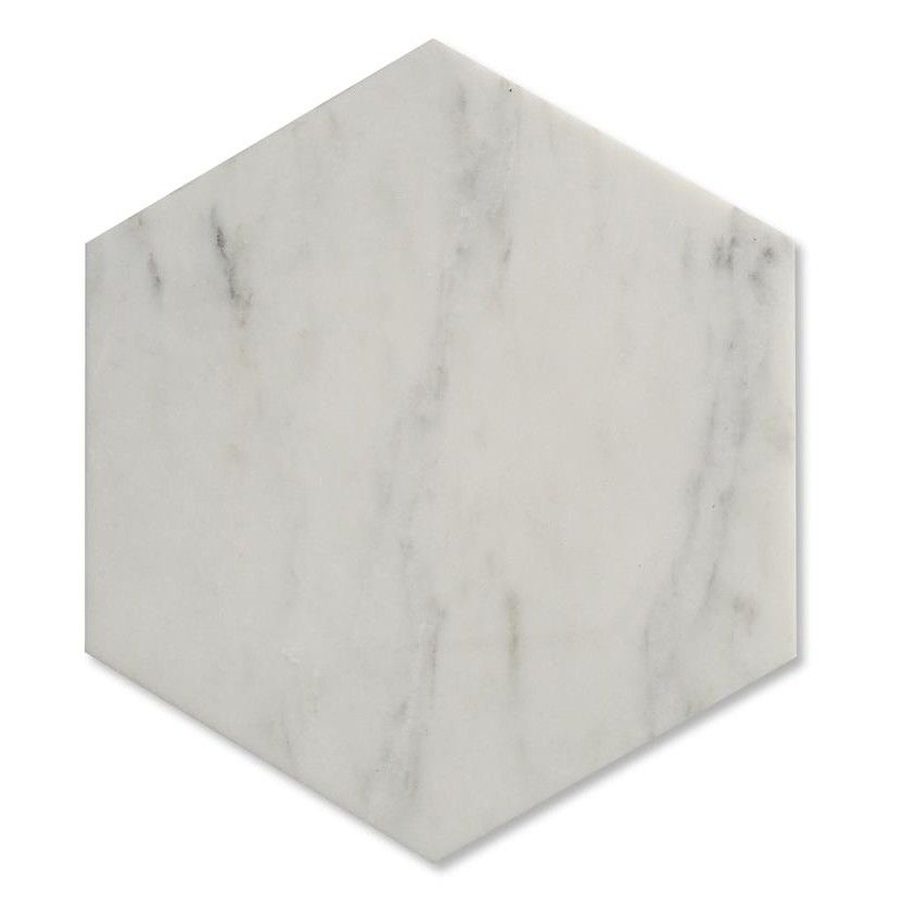 Zenith Carrara Marble Hexagon Tile In White Honed Marble Tiles Honed Marble Hexagon Marble Tile