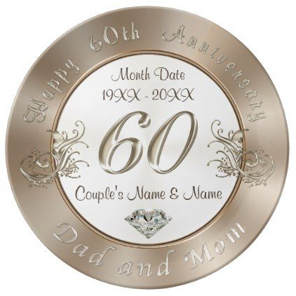 Custom 60th Wedding Anniversary Gifts for Parents Plate | 60 wedding ...
