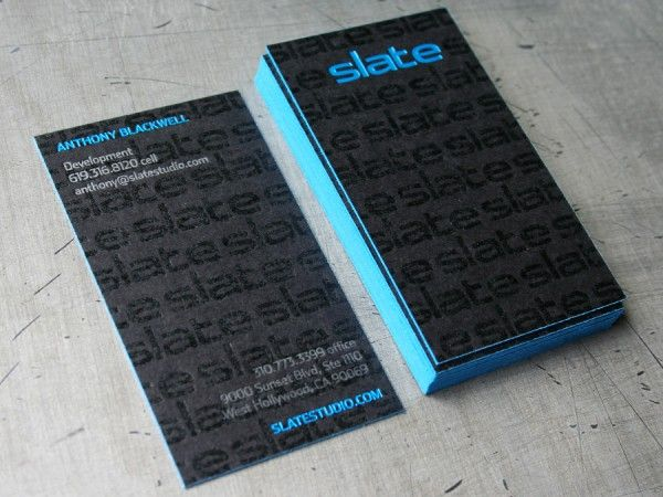 Subtle varnished logo pattern on 200 pound black stock with blue expensive but very nice detail slate edge painted business cards colourmoves