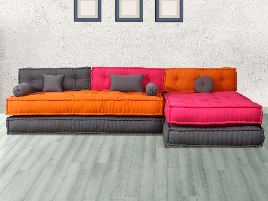 canap modulable tissu chase fuschia orange et taupe. Black Bedroom Furniture Sets. Home Design Ideas