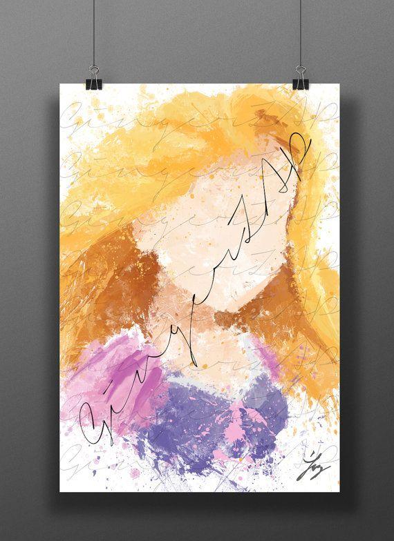 Rapunzel Princess Art Print Digital Watercolor Poster Kids Etsy Disney Paintings Princess Art Watercolor Disney