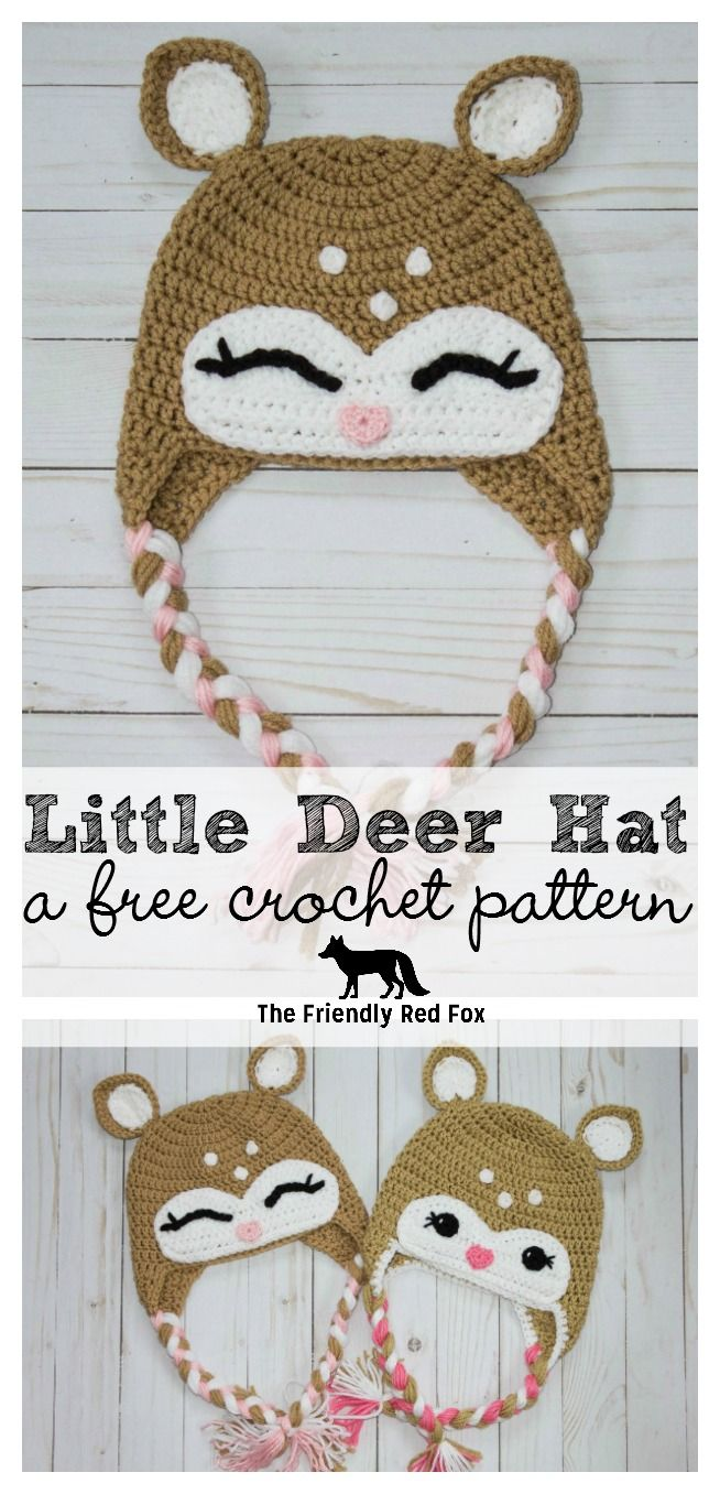 This little crochet deer hat pattern came to me while my son watched ...