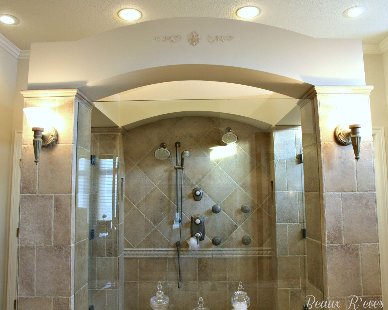 Shower with arch the master shower is the centerpiece of the room room dailygadgetfo Image collections