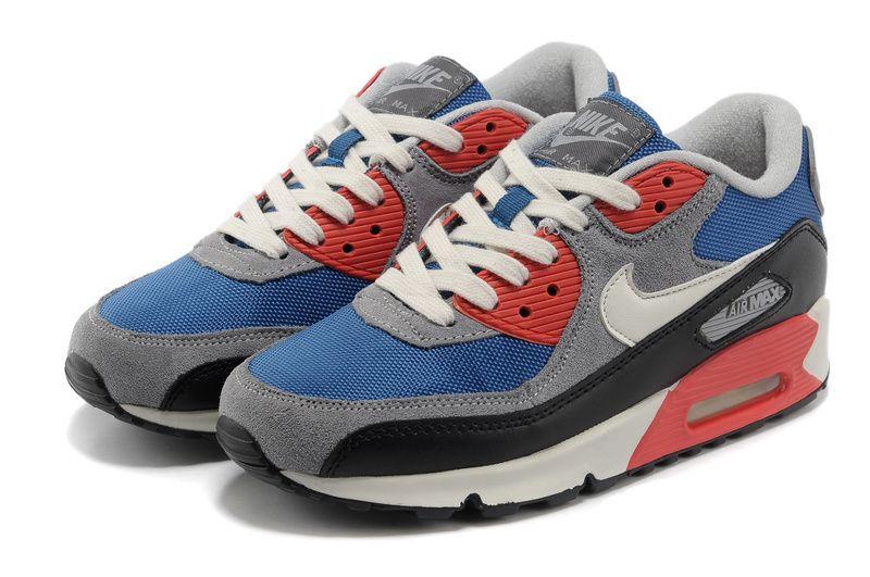 18091116fc62b Womens Air Max 90 Gray Blue Red Shoes