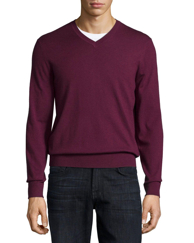 Cashmere V-Neck Sweater, Dark Red, Men's, Size: M, Dark Red ...