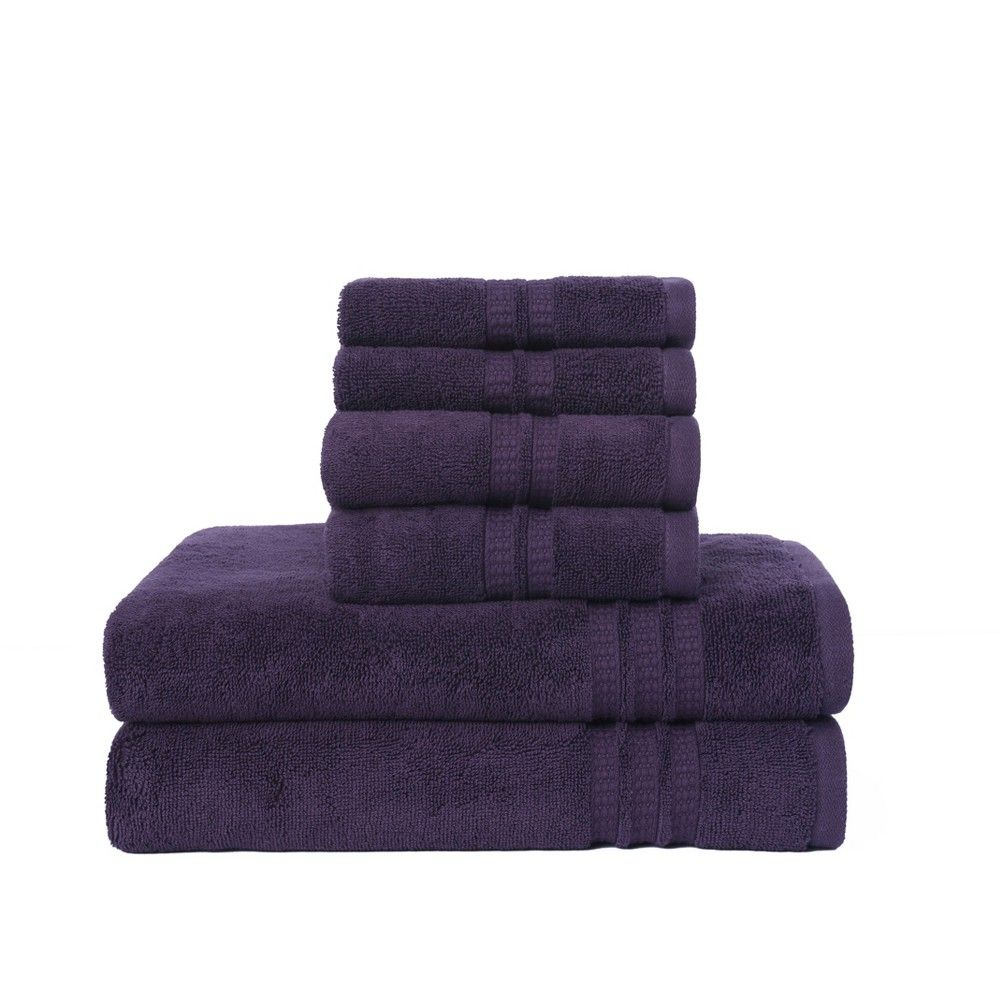 6pc Modern Home Trends Bath Towel Set Purple Loft Adult Unisex