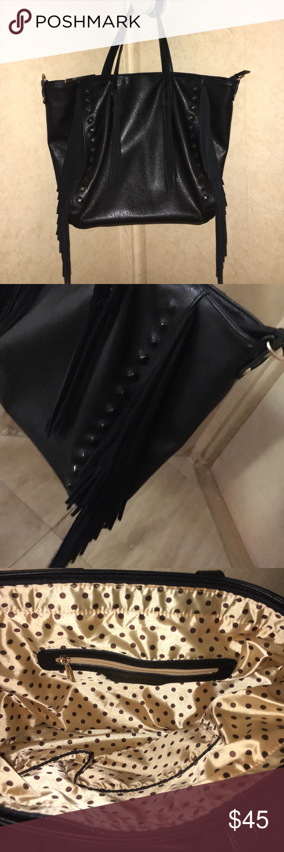 Black fringe tote Adorable black tote with fringe and stud accents - Roomy interior - Three interior pockets - Interior wall zipper pocket - Lipstick and cell phone wall pockets, - Lined with signature satin polka dot lining.        (Perfect condition) Melie Bianco Bags Totes