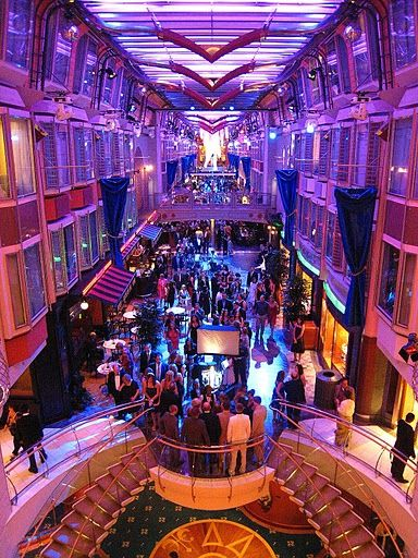 Night scene, promenade on RCL's Liberty of the Seas -- Photo by Sheila Young