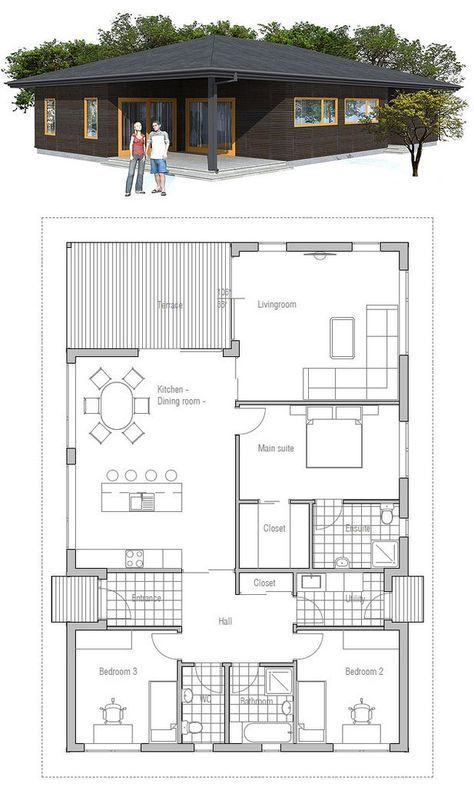 Small house plan, covered terrace, three bedrooms, affordable