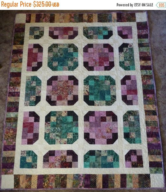 "YEAR END SALE Quilt~55"" x 70""~Batik in Purple Green and White,Gift Quilt, Lap Quilt Fast Shipping Qlt103"