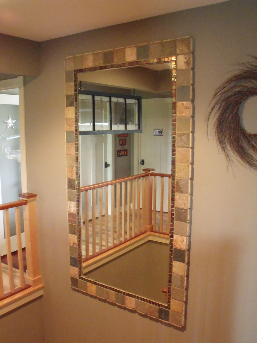 Tile Framed Bathroom Mirror: Brilliant! Gonna Hot Glue Tile Around Our Plain Bathroom