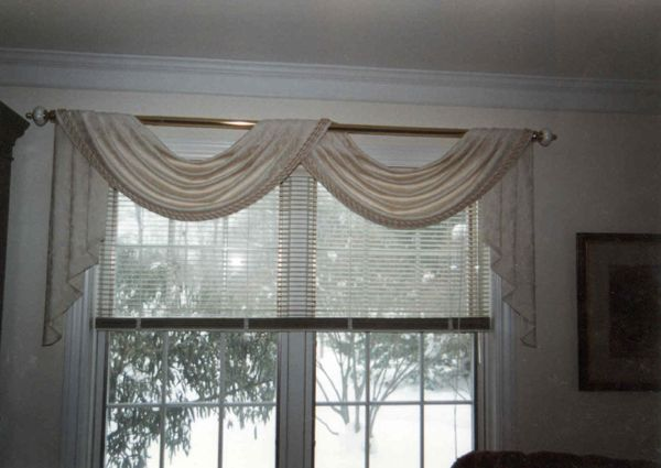 Scarf Valance And Blinds Window Treatments Living Room Small