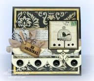 A vintage style square card stamped with the Stampin'Up! Aviary set.
