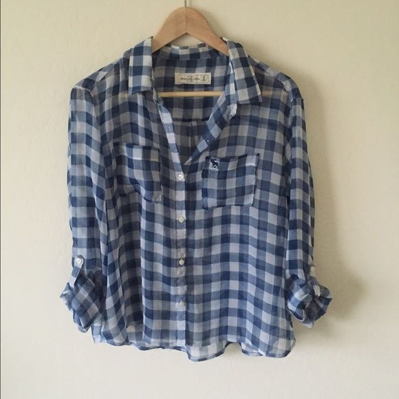 Abercrombie and Fitch Plaid Shirt Flowy fit with roll up sleeves. 100% polyester. Abercrombie & Fitch Tops Button Down Shirts