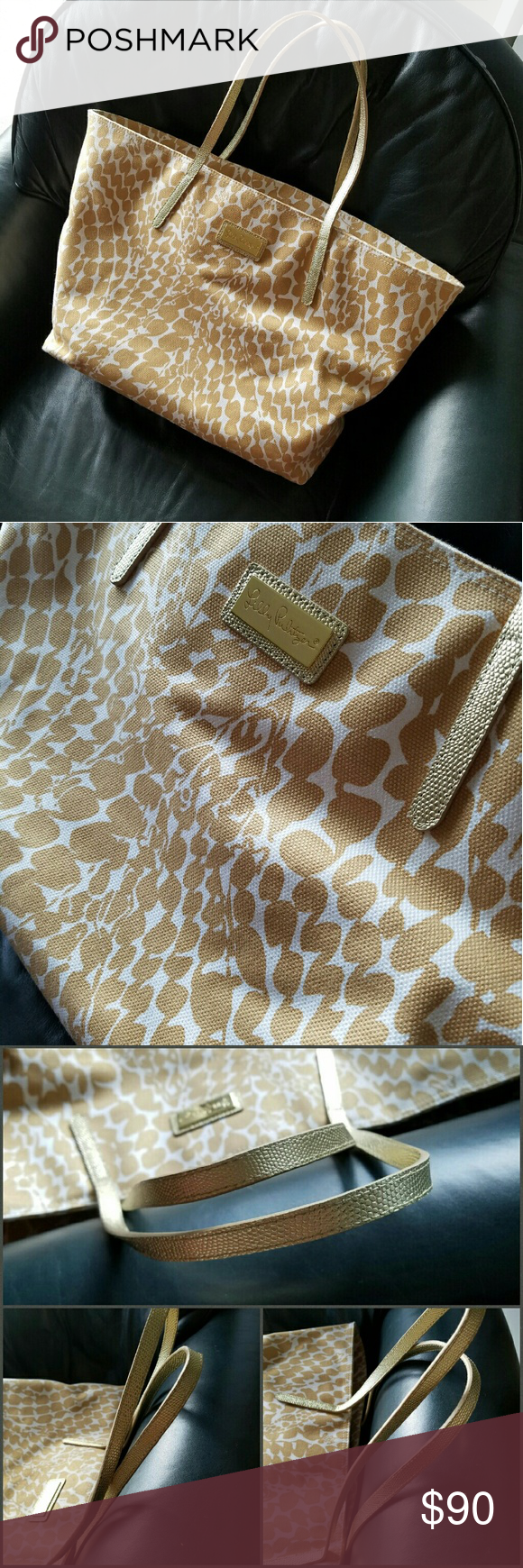 """LILLY PULITZER Gold Giraffe Resort Tote Gently used a few times a couple of Summers ago. Exterior is in excellent condition and shows no signs of wear, stains, pilling or damages. Handles are in excellent condition. Interior is in good condition with some small stains as shown in picture 4. Approximately 13"""" high x 20"""" long from middle section of bag x 5 1/2"""" depth. Lilly Pulitzer Bags Totes"""