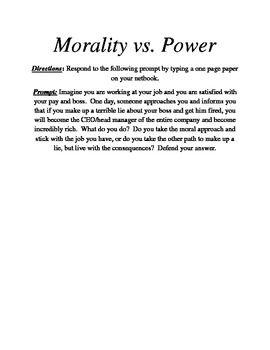 Morality V Power Writing Activity Macbeth English Teaching Activitie Shakespeare Essay On Lady Evil