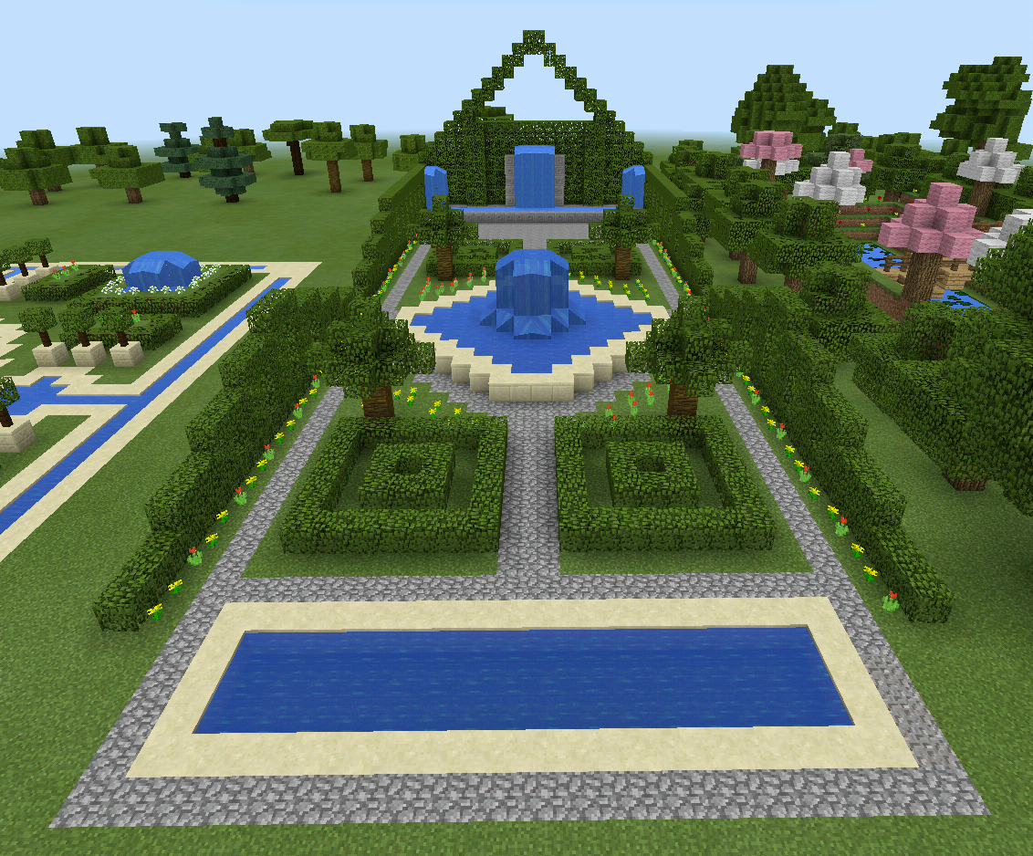 minecraft garden and fountain