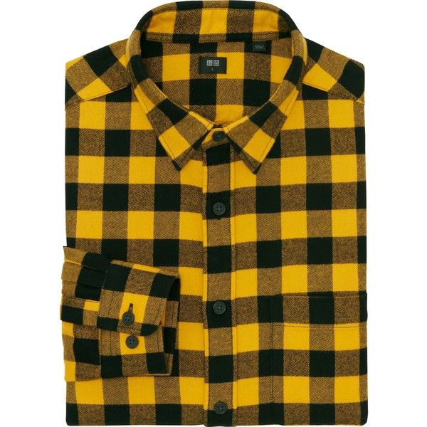 daf1a0fe19fb UNIQLO Men s Flannel Buffalo Check Long Sleeve Shirt ( 30) ❤ liked on  Polyvore featuring