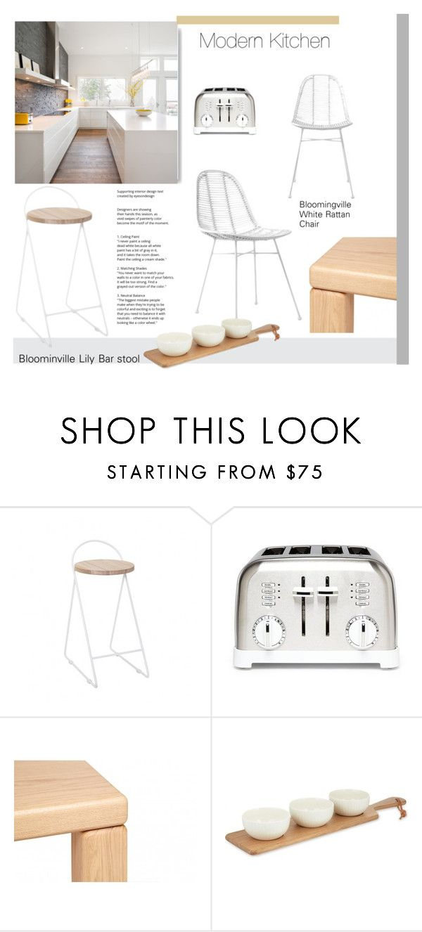 """""""Modern Kitchen - White and Wood"""" by viva-12 ❤ liked on Polyvore featuring interior, interiors, interior design, home, home decor, interior decorating, Bloomingville, Cuisinart, Wedgwood and kitchen"""