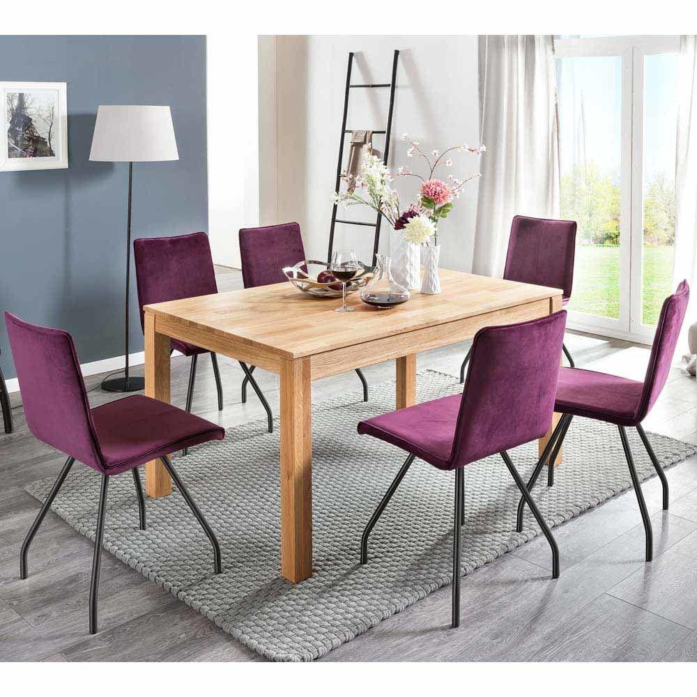 Esstisch mit Stühlen aus Eiche Massivholz Violett (7-teilig) Jetzt ...