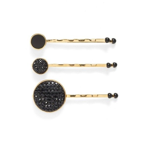 MARC BY MARC JACOBS Pave Crystal Disc Bobby Pins (370 VEF) ❤ liked on Polyvore featuring accessories, hair accessories, black multi, black hair pins, black hair accessories, marc by marc jacobs, crystal hair accessories en crystal hair pins