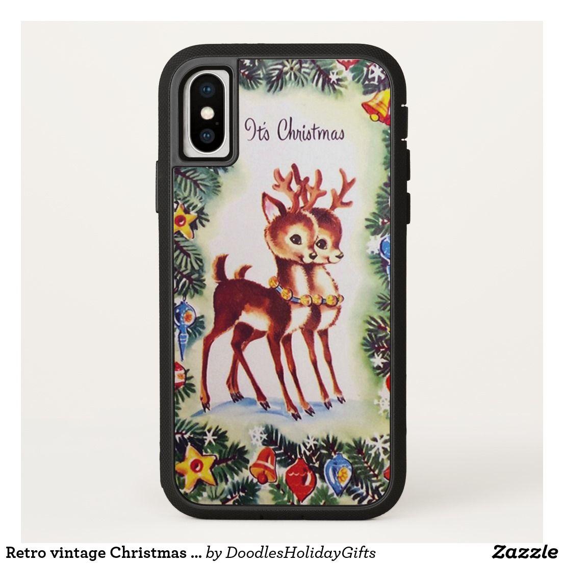 Retro vintage Christmas Holiday reindeer iPhone X Case  Christmas