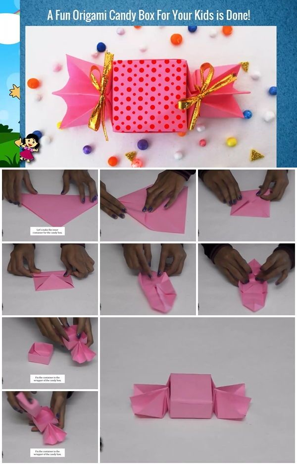 How To Make Cute Origami Candy Box Step By